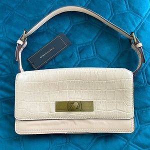 BCBGMaxAzria Nude Faux Croc Leather Shoulder Bag
